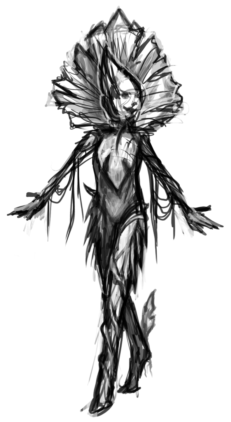Black and white sketch of orchid-inspired Akrasi