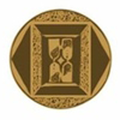 Broze coin depicting the twin hourglass symbol of the Everglass lineage
