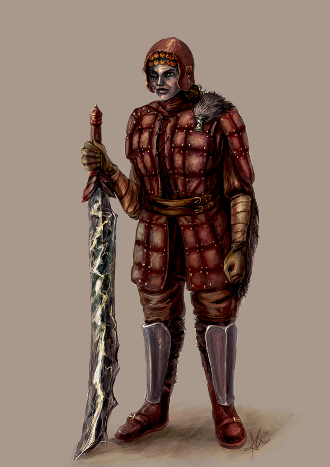 Human in leather armour, bearing a flashforged blade